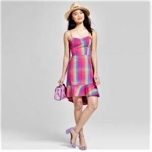 Hi Low Ruffle Hem Multicolored Plaid Sun Dress